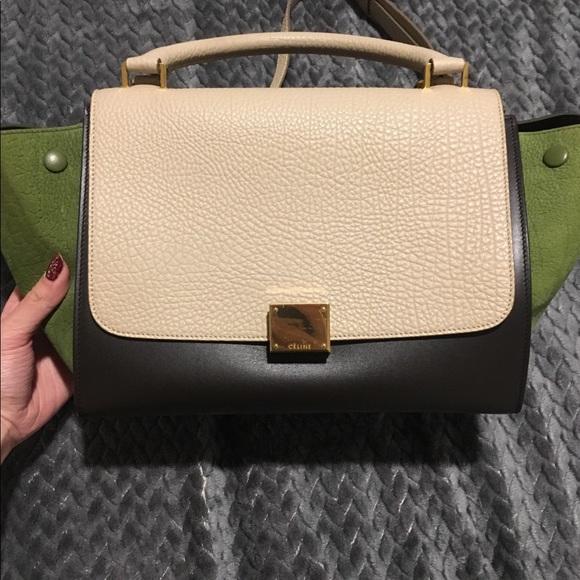 Celine Handbags - Celine Tri Color Trapeze Bag